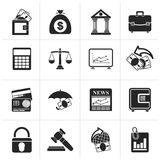 Black Business, finance and bank icons. Vector icon set Stock Photos