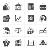 Black Business, finance and bank icons. Vector icon set Royalty Free Illustration