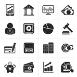 Black Business, finance and bank icons. Vector icon set Stock Images