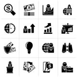 Black Business and Finance Strategies  Icons. Vector icon set Royalty Free Stock Photo