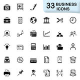 33 black business icons. Business icons for mobile phone interface and web. Size vector icon: 32x32 px Royalty Free Stock Image