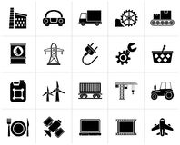 Black Business and industry icons. Vector icon set Stock Photos