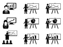 Black Business lecture seminar meeting Presentation icons set. Isolated black Business lecture seminar meeting Presentation icons set from white background Stock Image