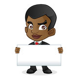 Black Business Man Holding Blank Sign Stock Image
