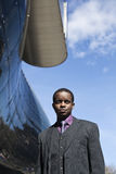 Black business man and modern architecture Royalty Free Stock Images