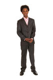 Black business man standing. Young black business man standing in studio Stock Photography