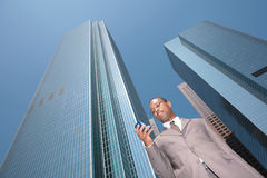 Black Business Man in a Suit Outdoors royalty free stock photo