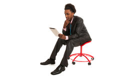 Black business man with tablet PC Royalty Free Stock Image