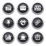 Black business & office buttons. Black shiny business & office buttons for design Stock Photos