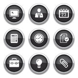Black business & office buttons Stock Photos