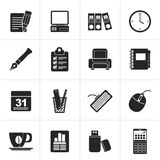Black Business and office equipment icons Stock Photos
