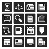 Black Business and office  Icons. Vector icon set Stock Image