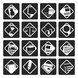 Black Business and office icons. Vector icon set Royalty Free Stock Images