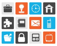 Black Business and office icons. Vector icon set Stock Photography