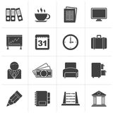 Black Business and office icons. Vector icon set stock illustration