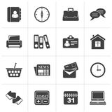 Black Business and office icons. Vector icon set royalty free illustration