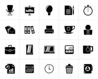 Black Business and office objects icons. Vector icon set stock illustration