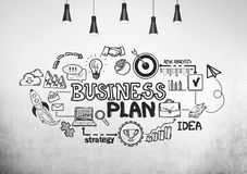 Black business plan sketch on a concrete wall Royalty Free Stock Photos