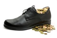 Black business shoe with money Stock Images