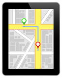 Black Business Tablet With Navigation Route stock photos