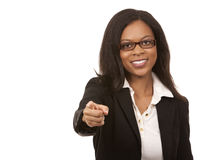 Black business woman pointing Stock Photo