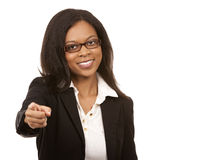Black business woman pointing Royalty Free Stock Photos