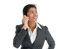 Black business woman talking on smartphone. And smiling, on white background stock photos