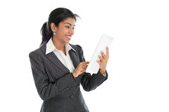 Black business woman using tablet computer. Black business woman using tablet pc and smiling, on white background stock photos