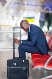 Black businessman airport Royalty Free Stock Photos