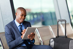 Black businessman airport Stock Image