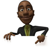 Black businessman with a blank sign Royalty Free Stock Photo
