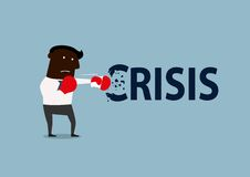 Black businessman boxing with crisis. African american businessman breaks the crisis with red boxing gloves. Crisis management concept design, cartoon flat style Stock Photography