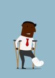 Black businessman with broken leg Stock Image