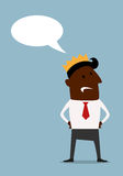 Black businessman in crown with speech bubble Stock Images
