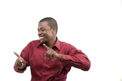Black businessman dancing. Half body portrait of handsome black businessman dancing; isolated on white background Royalty Free Stock Image