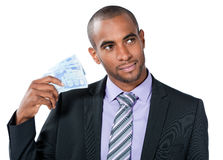 Black businessman with Euros Royalty Free Stock Photography