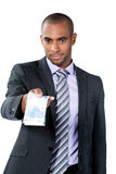 Black businessman with Euros Stock Photos