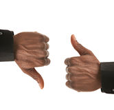 Black Businessman Hands Gesture Up Down. Isolated on White Background Stock Photo
