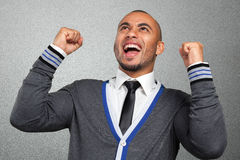 Black businessman happy. Black businessman with happy expression Royalty Free Stock Photo