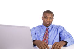 Black Businessman at His Desk Working Stock Photography