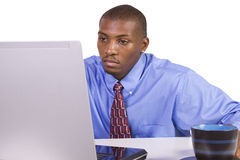Black Businessman at His Desk Working Stock Images