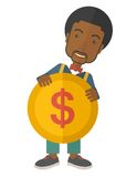 Black Businessman holding a big coin Stock Image