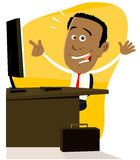Black Businessman jackpot at the office Royalty Free Stock Photography