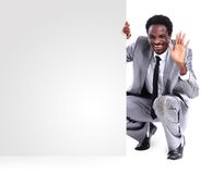 Black businessman with panel Stock Images