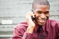 Black businessman on the phone Stock Images