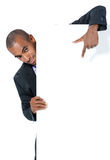 Black businessman with sign Stock Photo