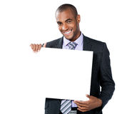 Black businessman with sign Royalty Free Stock Images