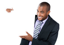 Black businessman with sign Royalty Free Stock Image