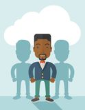Black businessman standing straight with his. A very confident black guy standing straight showing that he has a strong teambuilding togetherness. Teamwork Royalty Free Stock Photos