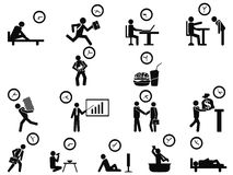 Black businessman time management concept icons set. Isolated black businessman time management concept icons set from white background Royalty Free Stock Image